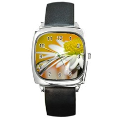Daisy With Drops Square Leather Watch