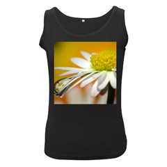 Daisy With Drops Womens  Tank Top (Black)
