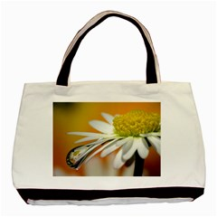 Daisy With Drops Twin Sided Black Tote Bag