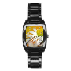 Daisy With Drops Men s Stainless Steel Barrel Analog Watch