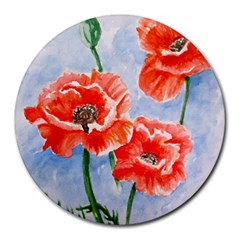 Poppies 8  Mouse Pad (round)