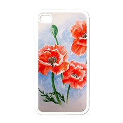 Poppies Apple iPhone 4 Case (White)
