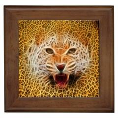 Electrified Fractal Jaguar Framed Tile