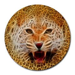 Electrified Fractal Jaguar Round Mousepad