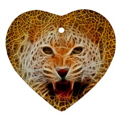 Electrified Fractal Jaguar Ornament (Heart)