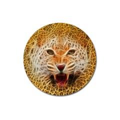 Electrified Fractal Jaguar Magnet 3  (Round)