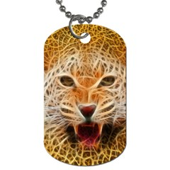 Electrified Fractal Jaguar Dog Tag (One Side)