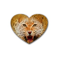 Electrified Fractal Jaguar Heart Coaster (4 Pack)
