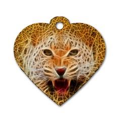 Electrified Fractal Jaguar Dog Tag Heart (One Side)