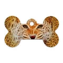 Electrified Fractal Jaguar Dog Tag Bone (One Side)