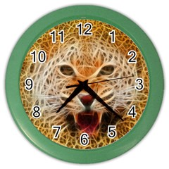 Electrified Fractal Jaguar Color Wall Clock