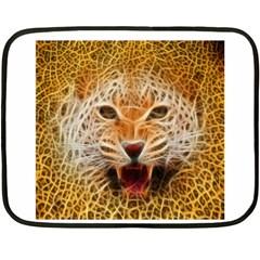 Electrified Fractal Jaguar Mini Fleece Blanket(Two Sides)