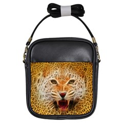 Electrified Fractal Jaguar Girls Sling Bag
