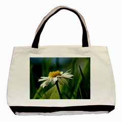 Daisy Twin Sided Black Tote Bag