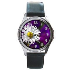 Daisy Round Metal Watch (Silver Rim)