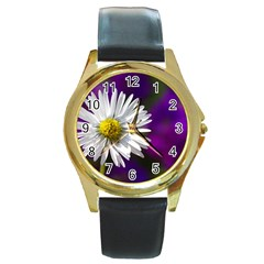 Daisy Round Metal Watch (Gold Rim)