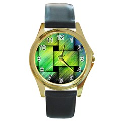 Modern Art Round Metal Watch (Gold Rim)