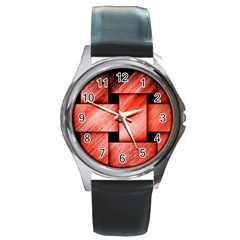 Modern Art Round Metal Watch (Silver Rim)