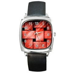 Modern Art Square Leather Watch