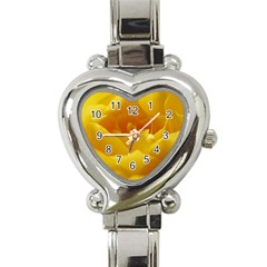Yellow Rose Heart Italian Charm Watch