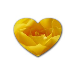 Yellow Rose Drink Coasters 4 Pack (Heart)