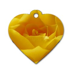 Yellow Rose Dog Tag Heart (One Sided)