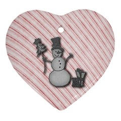 Happy Little Snowman Heart Ornament
