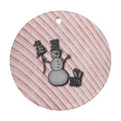 Happy Little Snowman Round Ornament (Two Sides)