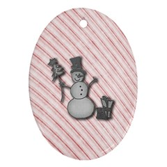 Happy Little Snowman Oval Ornament (Two Sides)
