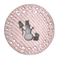 Happy Little Snowman Round Filigree Ornament