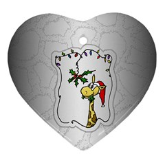 The Hungry Giraffe Heart Ornament (Two Sides)
