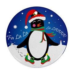 Enthusiastic Christmas Penguin  Round Ornament