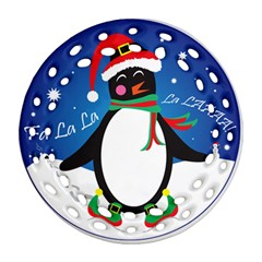 Enthusiastic Christmas Penguin  Round Filigree Ornament (two Sides)