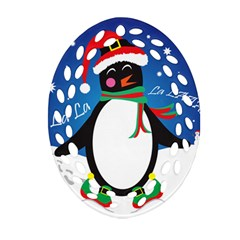 Enthusiastic Christmas Penguin  Oval Filigree Ornament (two Sides)