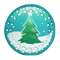 Winter Paradise Round Filigree Ornament (two Sides)