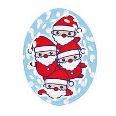 Santa s Oval Filigree Ornament (Two Sides)