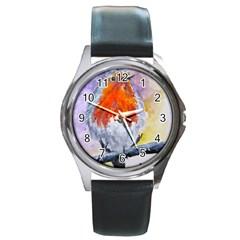 Robin Red Breast Round Metal Watch (silver Rim)