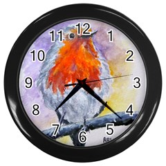 Robin Red Breast Wall Clock (Black)