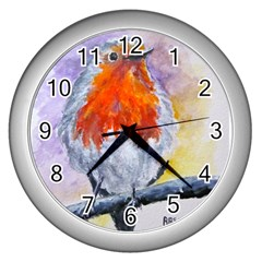Robin Red Breast Wall Clock (Silver)