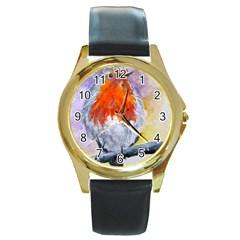Robin Red Breast Round Metal Watch (Gold Rim)