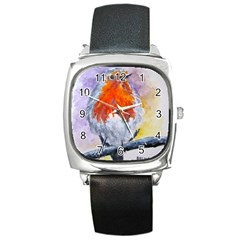 Robin Red Breast Square Leather Watch