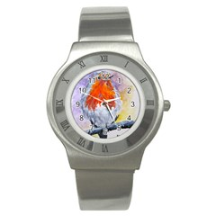 Robin Red Breast Stainless Steel Watch (Unisex)