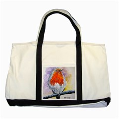 Robin Red Breast Two Toned Tote Bag