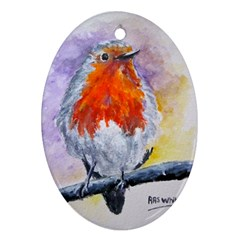 Robin Red Breast Oval Ornament (Two Sides)