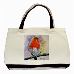 Robin Red Breast Twin-sided Black Tote Bag