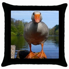 Geese Black Throw Pillow Case