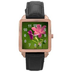 Campanula Close Up Rose Gold Leather Watch