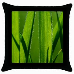 Grass Black Throw Pillow Case