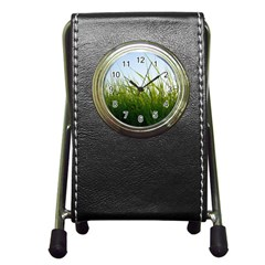 Grass Stationery Holder Clock