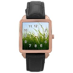 Grass Rose Gold Leather Watch